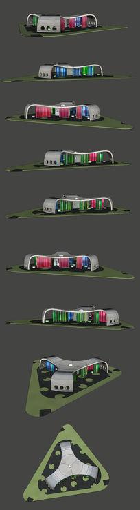 旅游景点休息亭SU模型设计
