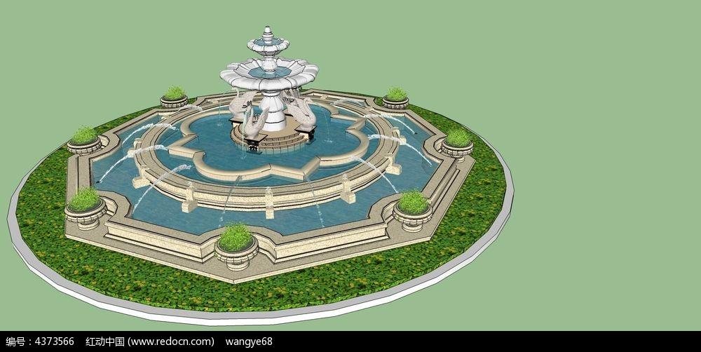 喷泉水景su模型图片