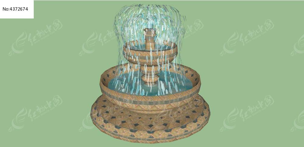 喷泉水景su模型skp素材下载