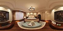360度全景美式卧室3d模型+高清效果图