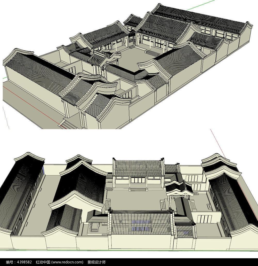 北京四合院中式别墅草图大师su模型