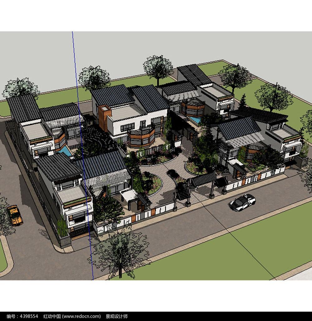 新中式别墅四合院模型图片