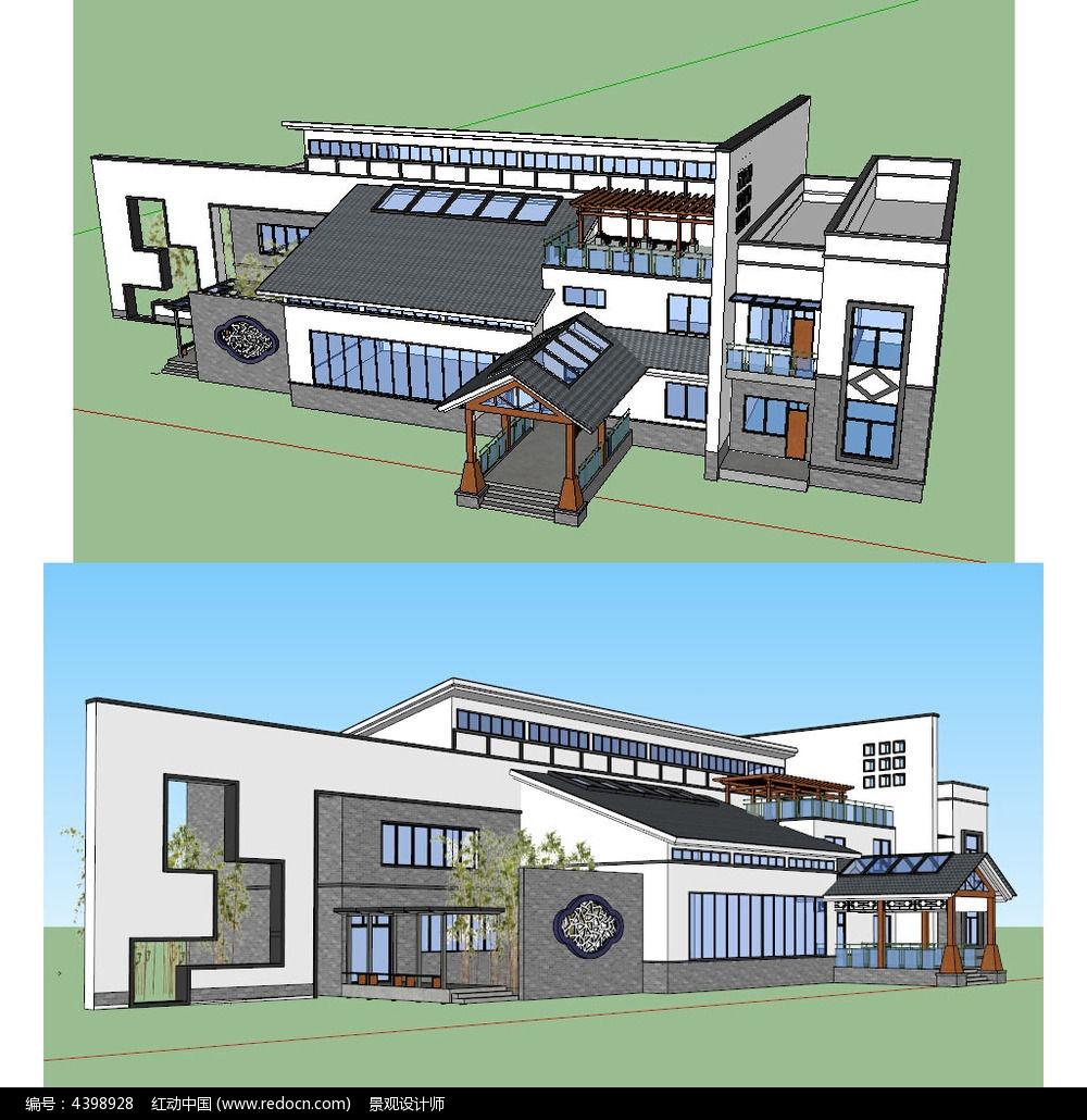 新中式底层办公楼建筑草图大师su模型图片