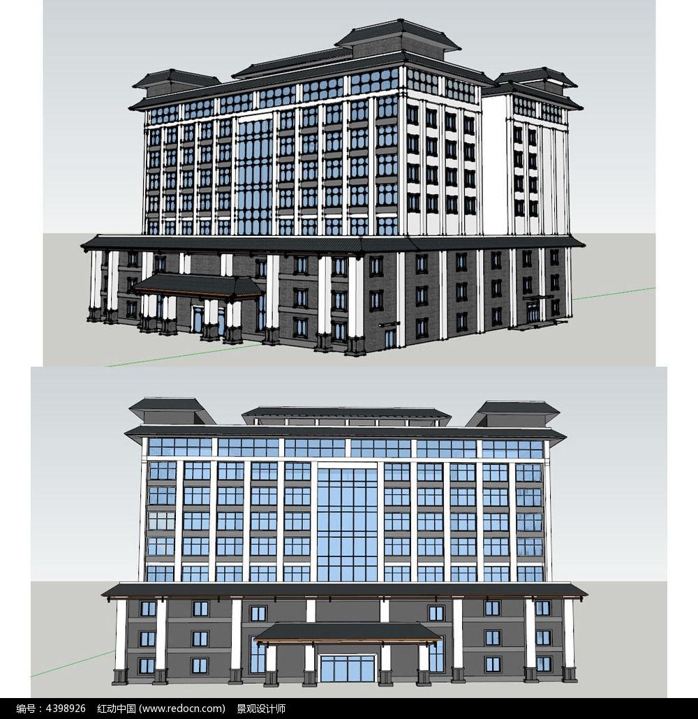 新中式建筑草图大师su模型图片