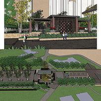 新中式居住区景观草图大师SU模型