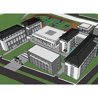 中式校园建筑草图大师模型