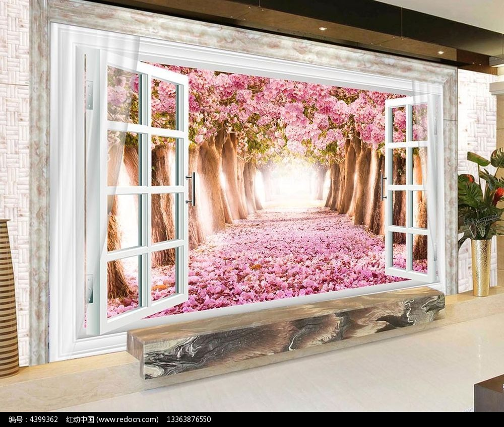 创意立体窗户电视背景墙