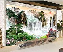 大气山水瀑布电视背景墙 PSD
