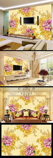 富贵牡丹中式背景墙