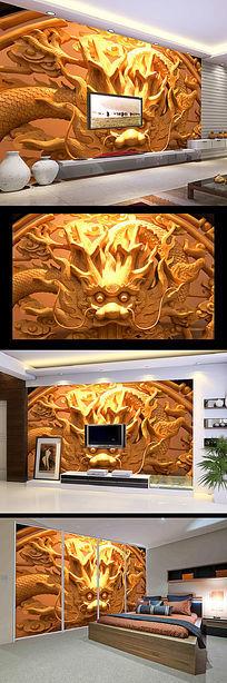 古典龙头木雕立体电视背景墙