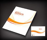 简约曲线广告册封面设计