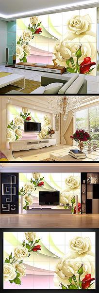 玫瑰花纹花蕾电视背景墙