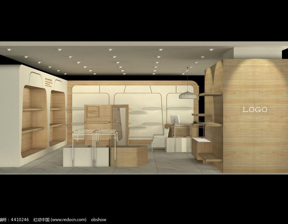 浅色系女包店铺设计3d模型方案(带贴图)_红动网图片