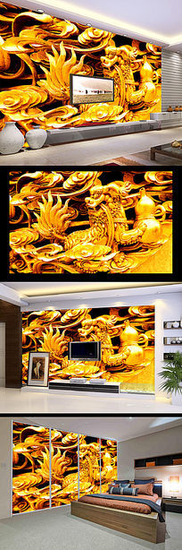 狮子滚绣球金色立体木雕浮雕背景墙