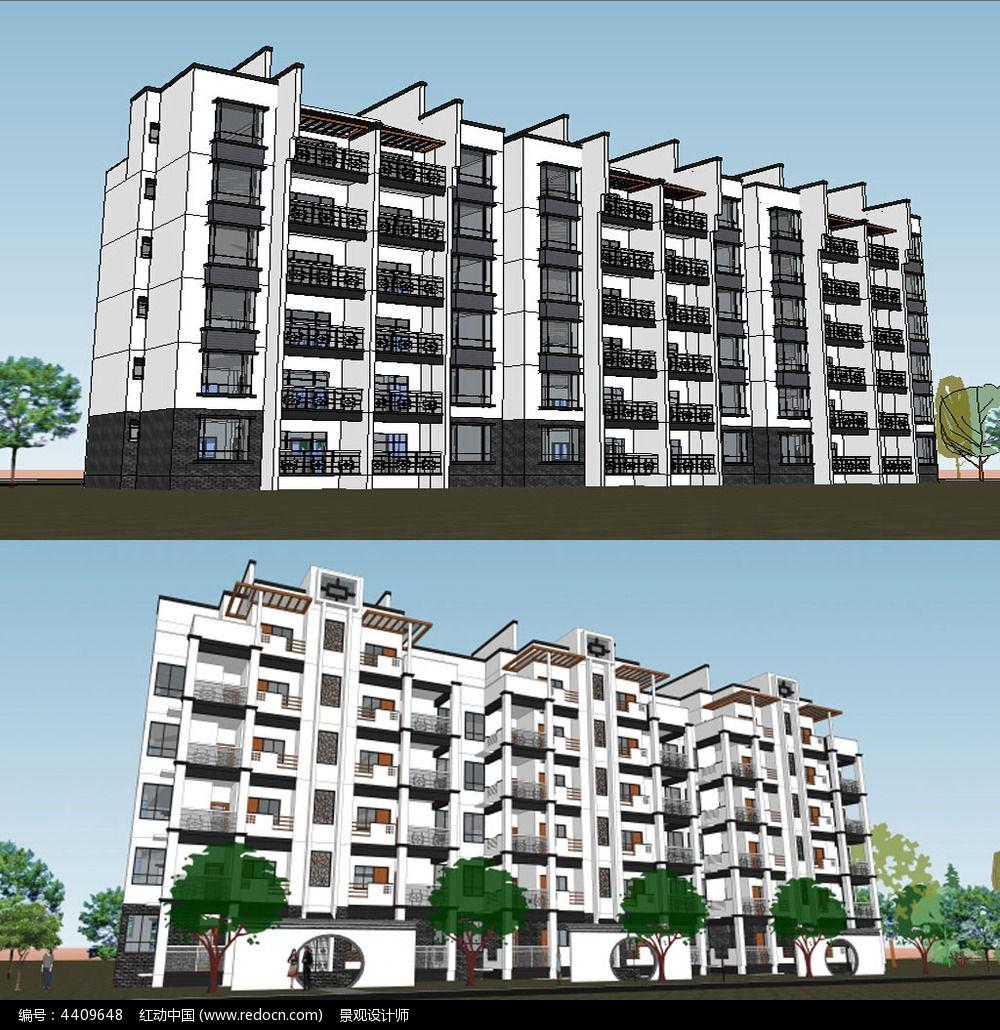 新中式住宅楼多层建筑草图大师模型图片