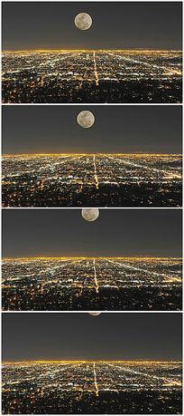 圆月城市夜景鸟瞰视频背景