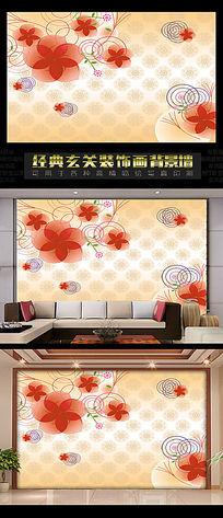 3D立体背景墙之橙色线条花卉