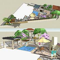 私家庭院花园景观草图大师SU模型