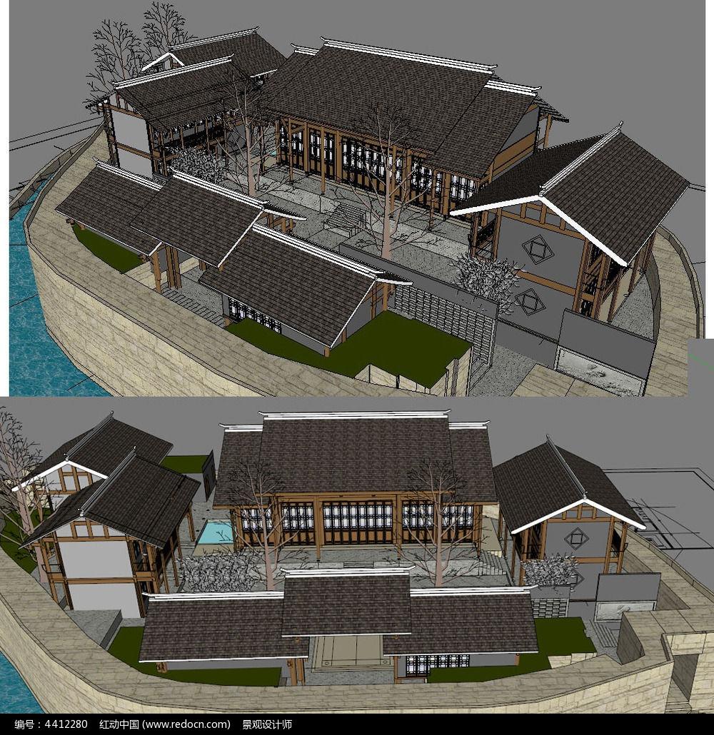 新中式别墅建筑草图大师su模型图片图片