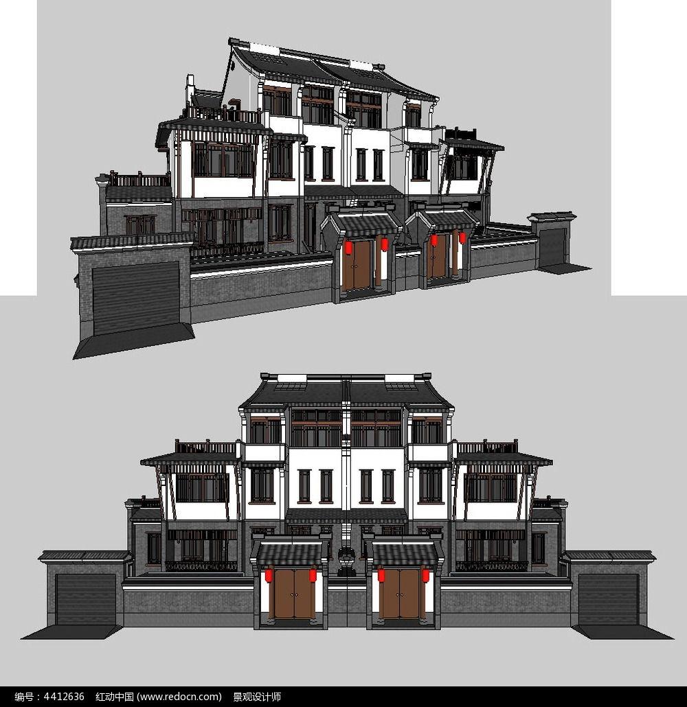 新中式别墅建筑草图大师SU模型图片