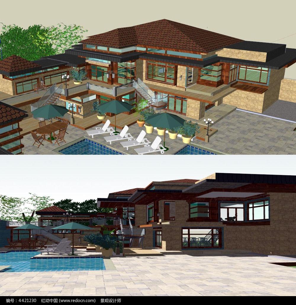 新中式别墅精细草图大师SU模型图片