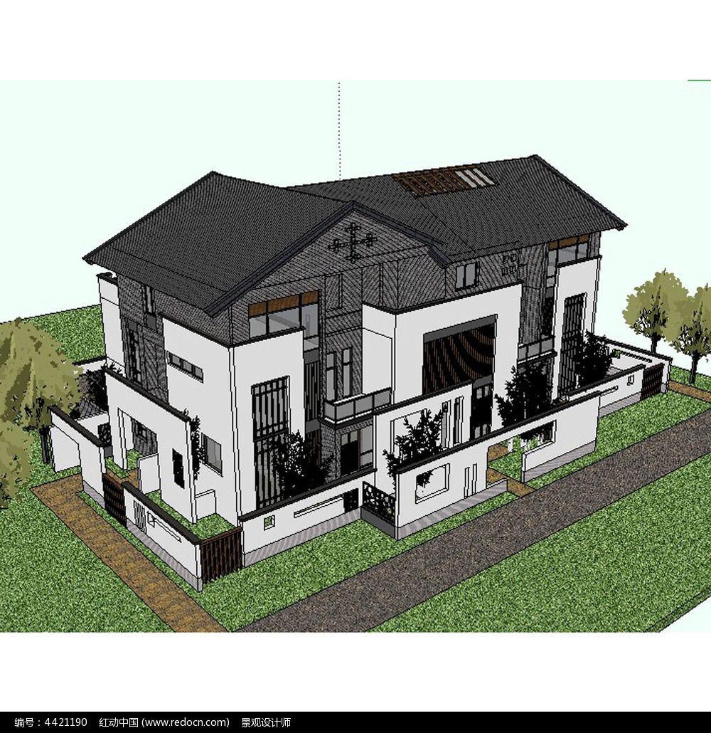 中式别墅建筑草图大师su模型图片