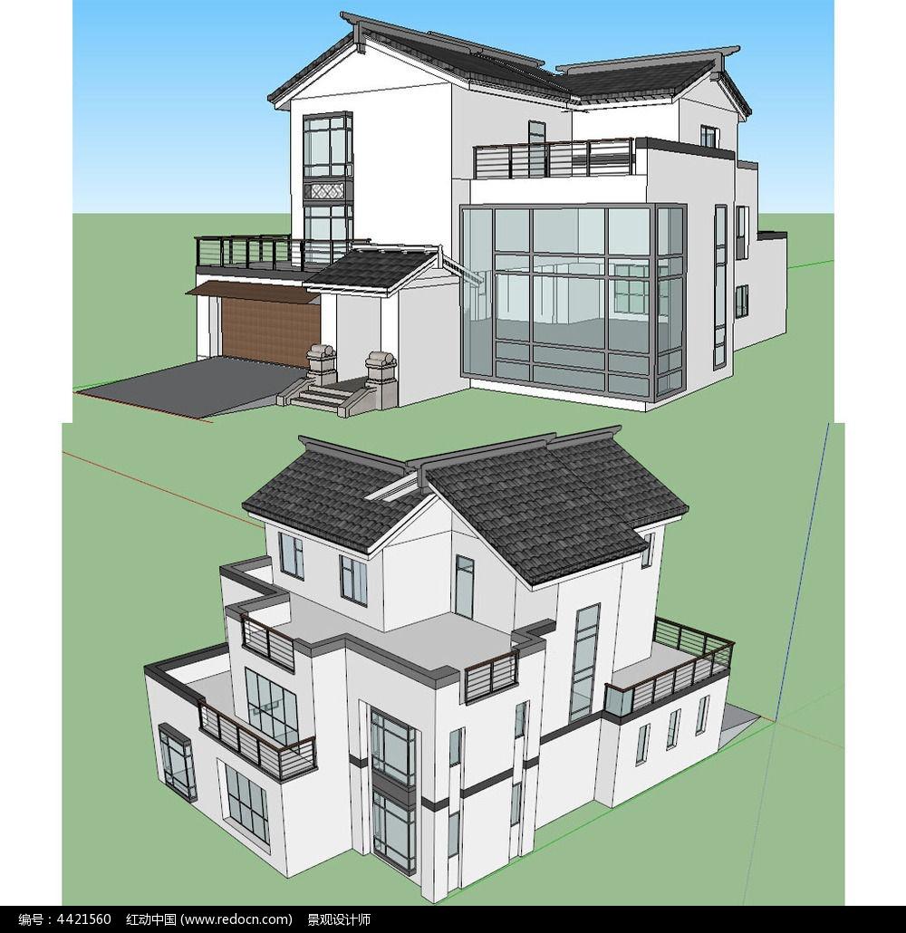 原创设计稿 3d模型库 景观全模 中式别墅建筑草图大师su模型图片