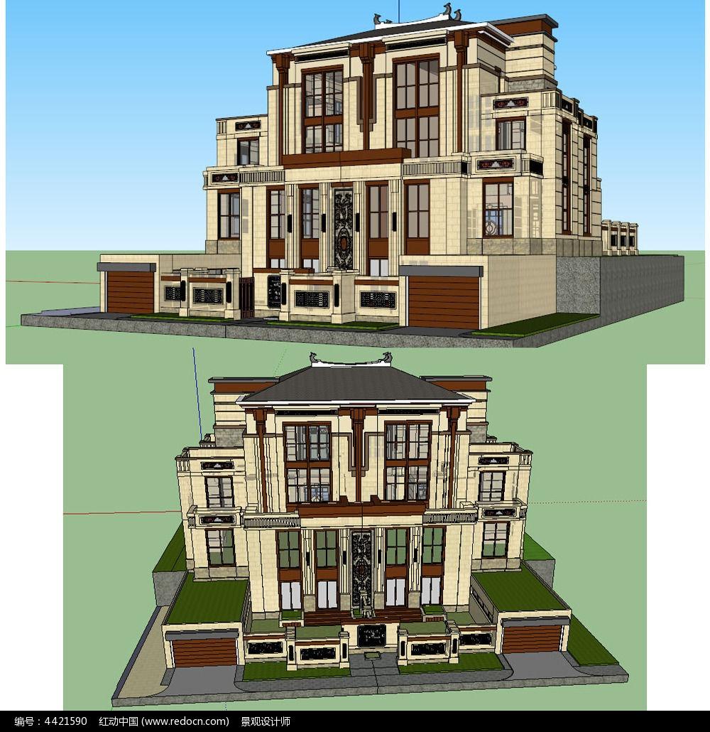 中式别墅建筑草图大师su模型图片图片