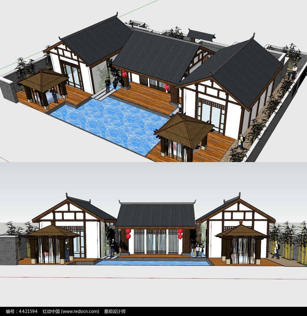 中式别墅建筑景观su草图大师模型图片