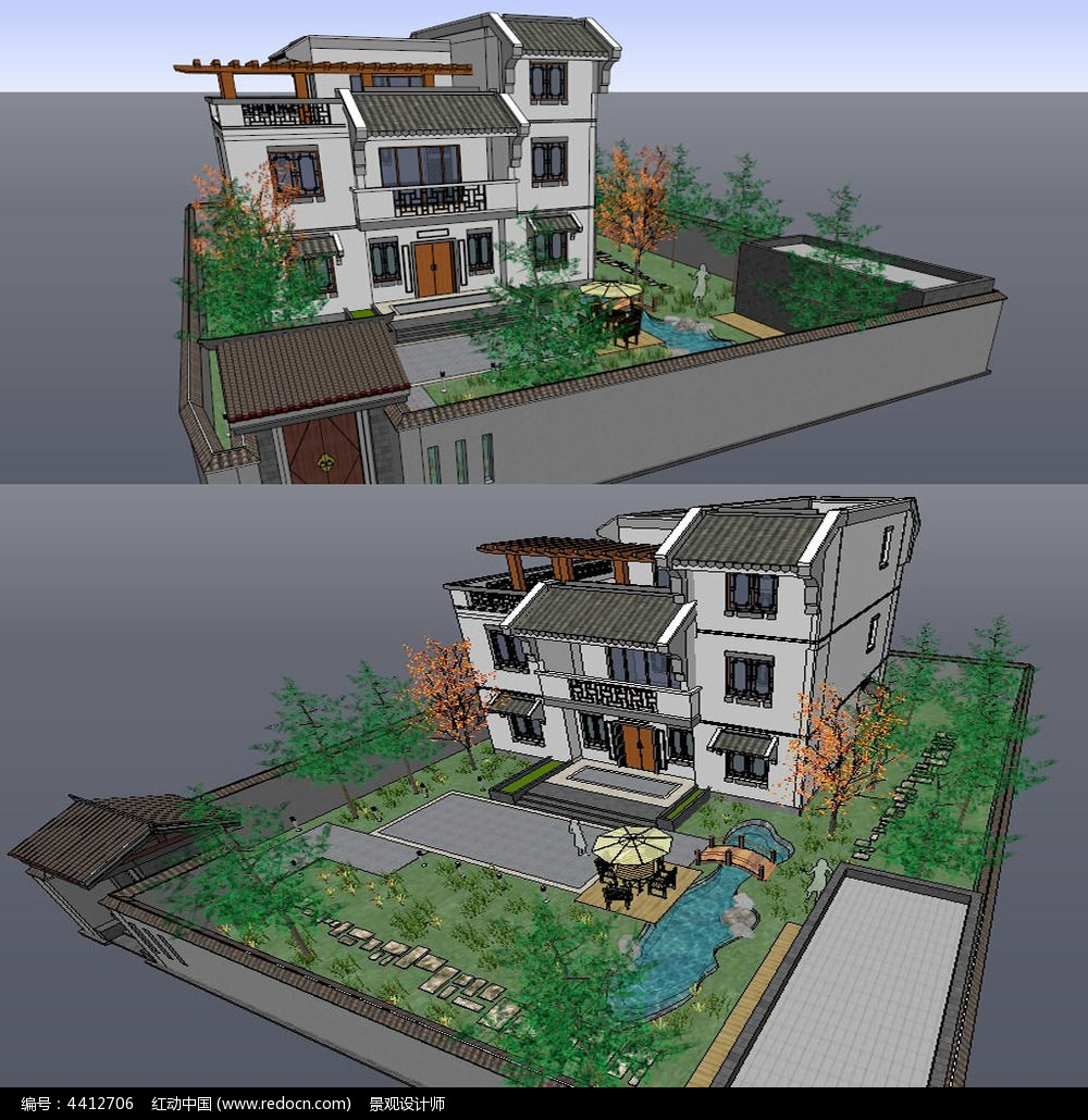 中式别墅庭院建筑草图大师su模型