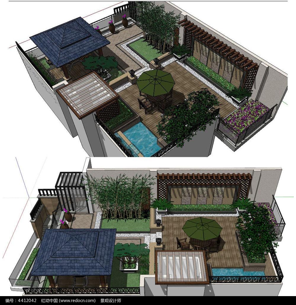 中式别墅庭院景观建筑su草图大师模型