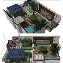 中式别墅庭院景观建筑SU草图大师模型 skp