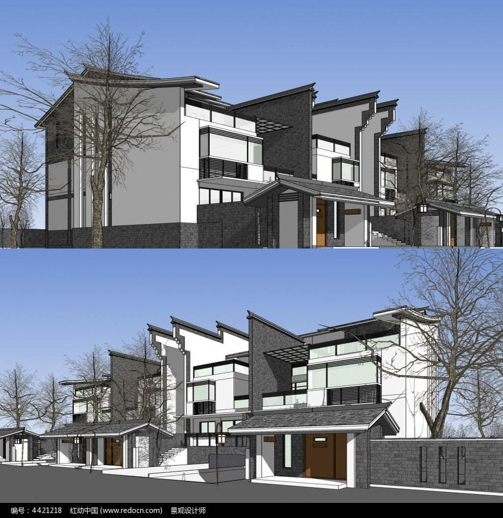 原创设计稿 3d模型库 景观全模 中式徽派别墅建筑草图大师su模型图片