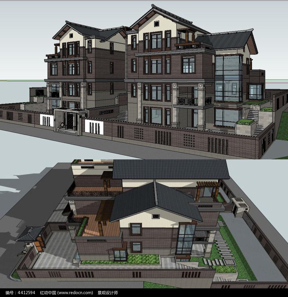 原创设计稿 3d模型库 景观全模 中式双拼别墅建筑草图大师su模型图片