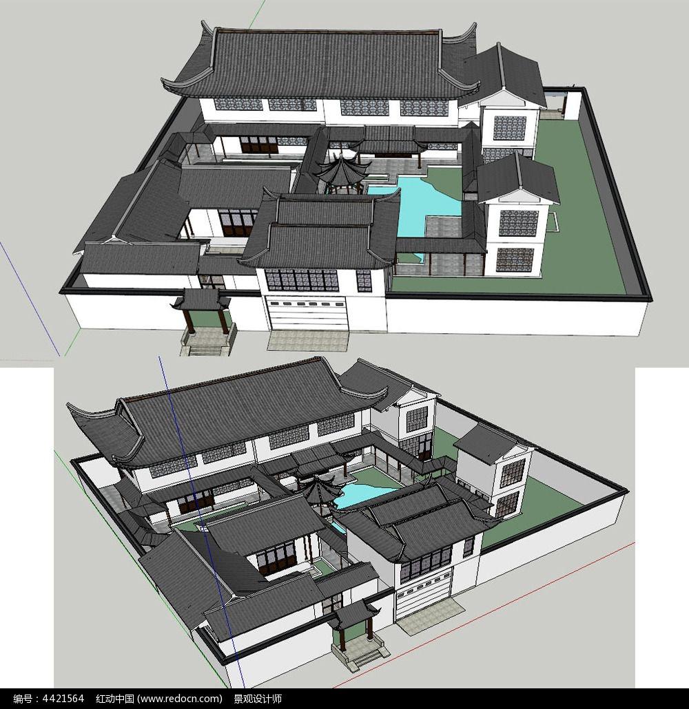 中式四合院别墅su模型图片