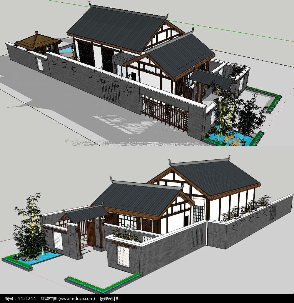 原创设计稿 3d模型库 景观全模 中式小别墅建筑草图大师su模型图片