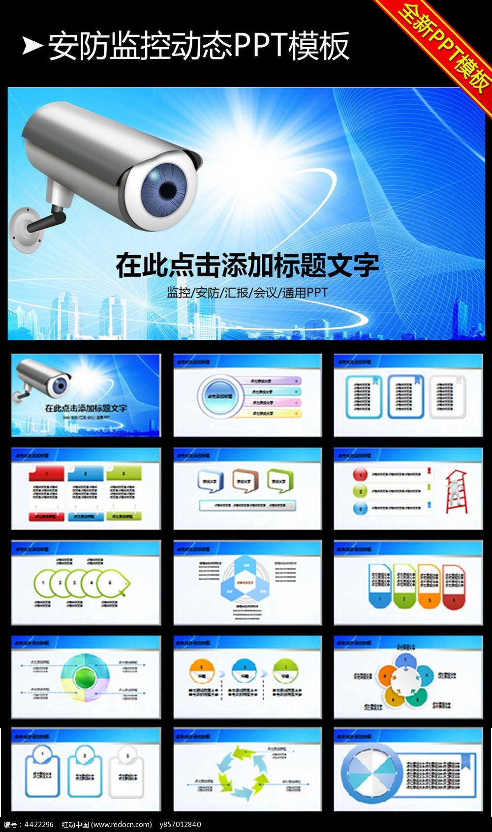 安防监控摄像头动态PPT模板