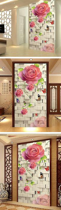玫瑰浪漫3D软包玄关
