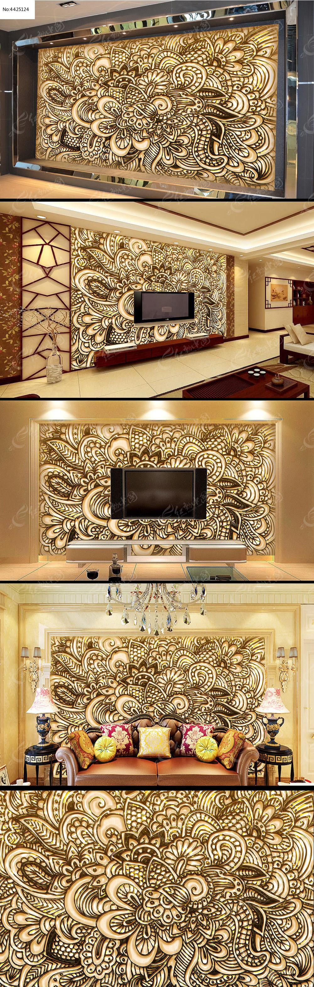 欧式风格浮雕雕花电视背景墙图片