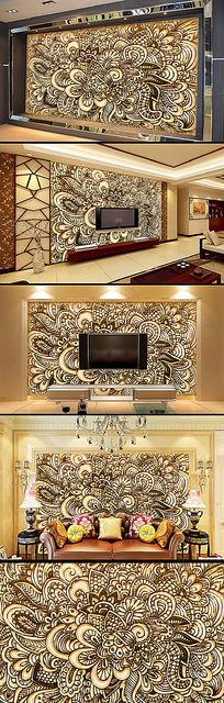 欧式风格浮雕雕花电视背景墙