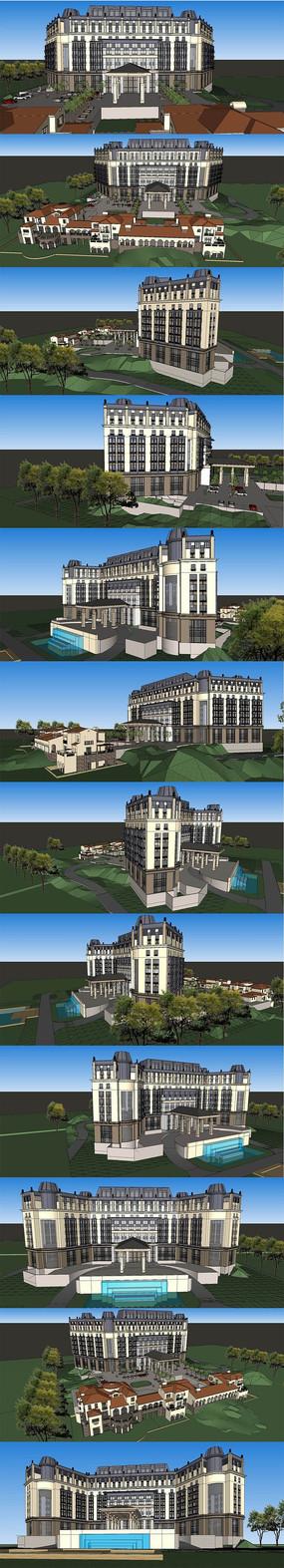 欧式酒店私人会所建筑SU模型设计