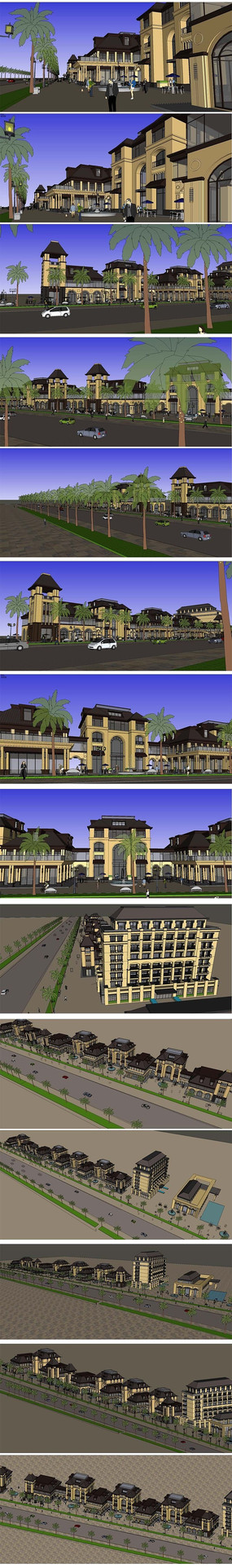 商业休闲街建筑SU模型设计