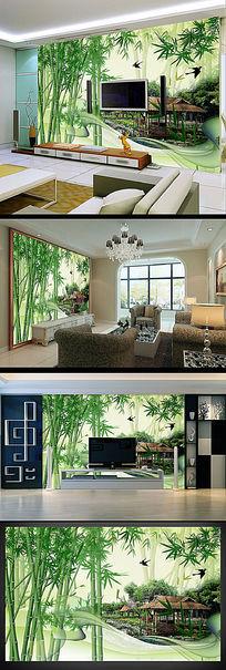 山水竹林风景电视背景墙