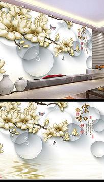 玉兰花电视背景墙壁画设计图片下载