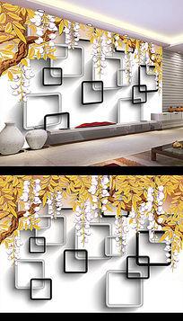 中式方格3D风景画电视背景墙