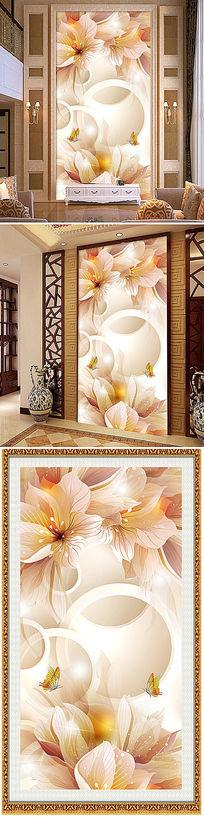 梦幻花纹花蕾3D玄关背景墙