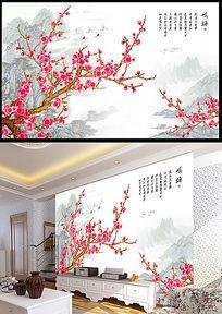 咏梅国画水墨山水电视背景墙图片