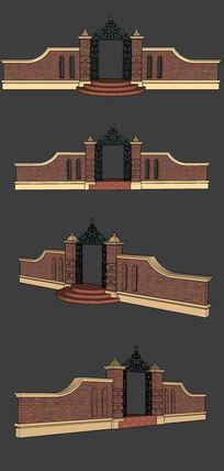 庭院大门suskp素材下载_围墙|栏杆|大门设计图片_编号图片