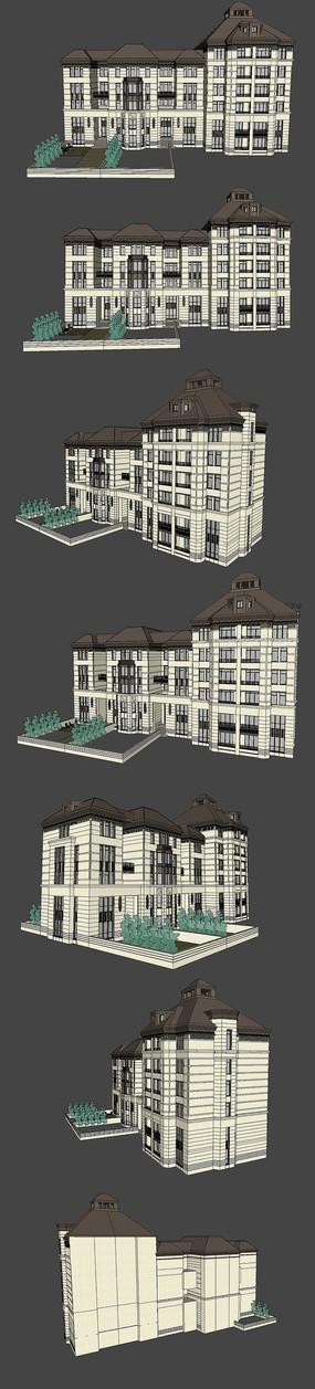 法式住宅建筑SU模型设计