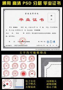 高等学校大学毕业证模板(文字可修改)
